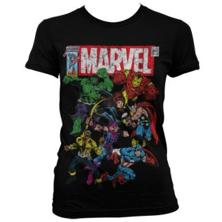 Marvel Comics - Team-Up Girly T-Shirt (Svart)