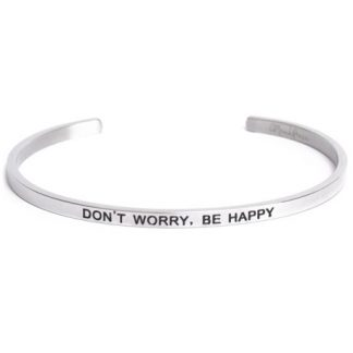 Armband med budskap - Cuff, Silver, Don't Worry Be Happy