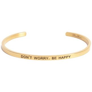 Armband med budskap - Cuff, Guld, Don?t Worry Be Happy