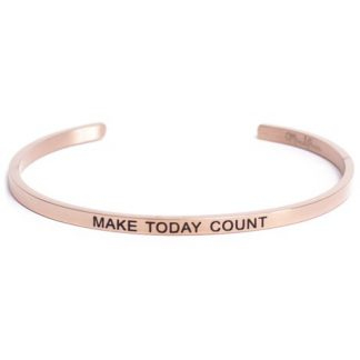 Armband med budskap - Cuff, Rosé, Make Today Count