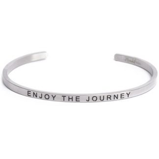 Armband med budskap - Cuff, Silver, Enjoy the Journey