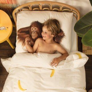 Snurk sängkläder - Apa, Vit